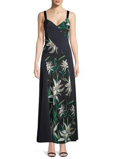 Diane von Furstenberg Sleeveless Paneled Lily-Print Silk Maxi Dress