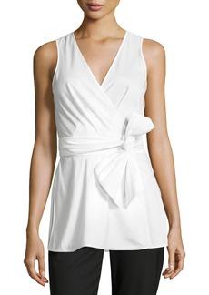 Diane von Furstenberg Sleeveless Poplin Wrap Top