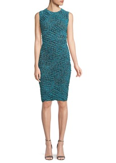 Diane von Furstenberg Sleeveless Ruched Mesh Dress