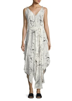 Diane von Furstenberg Sleeveless Scarf Hem Midi Dress