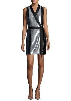 Diane von Furstenberg Sleeveless Sequined Wrap Dress