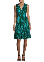 Diane Von Furstenberg Sleeveless Side-Tie Flare Dress  Green Pattern