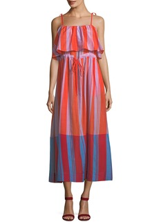 Diane Von Furstenberg Sleeveless Striped Pleated Maxi Dress