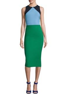 Diane von Furstenberg Sleeveless Tailored Colorblock Midi Dress