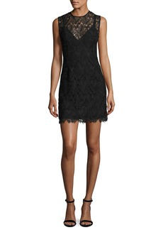 Diane von Furstenberg Sleeveless Tailored Lace Overlay Mini Cocktail Dress