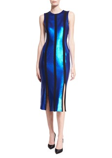 Diane von Furstenberg Sleeveless Tailored Sequin Paneled Dress