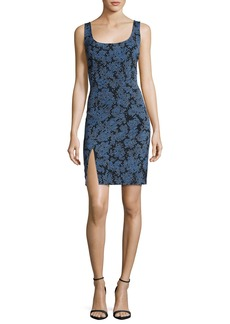 Diane von Furstenberg Sleeveless Tailored Side-Slit Silk Dress  Blue