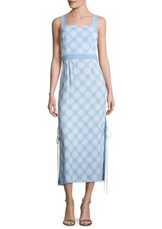 Diane von Furstenberg Sleeveless Tie-Side Printed Midi Dress