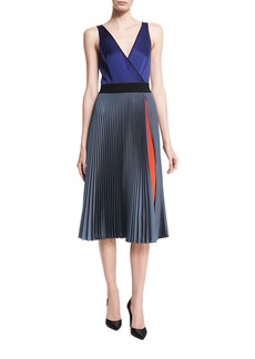 Diane von Furstenberg Sleeveless V-Neck Faux-Wrap Satin Dress