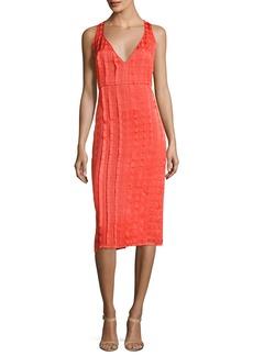 Diane von Furstenberg Sleeveless V-Neck Tailored Midi Dress