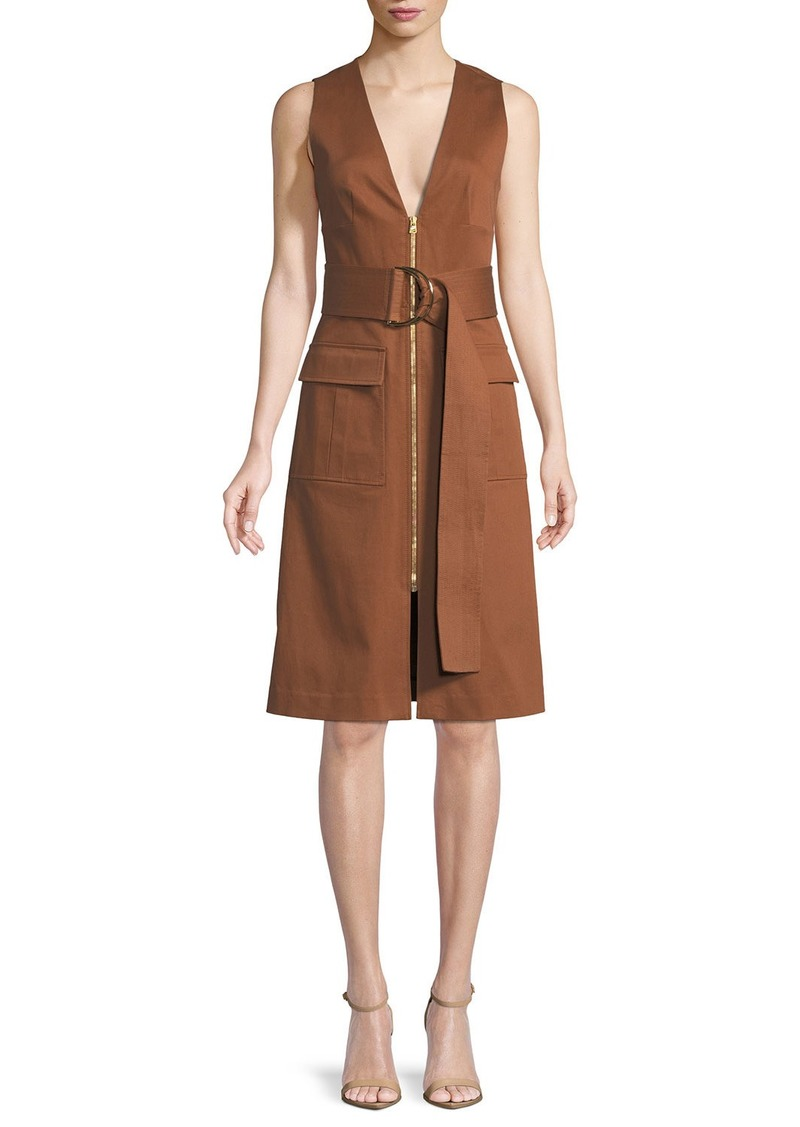 Diane von Furstenberg Sleeveless Zip-Front Belted Dress