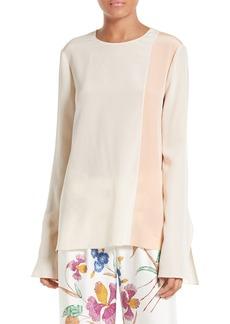 Diane von Furstenberg Slit Cuff Colorblock Silk Blouse