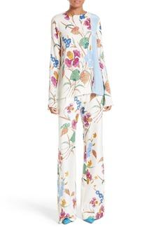 Diane von Furstenberg Slit Sleeve Print Stretch Silk Blouse