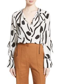 Diane von Furstenberg Slit Sleeve Silk Blouse