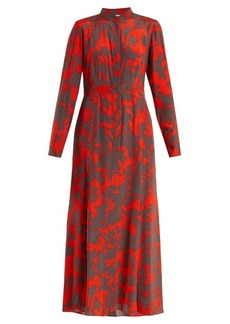 Diane Von Furstenberg Stand-collar silk crepe de Chine dress