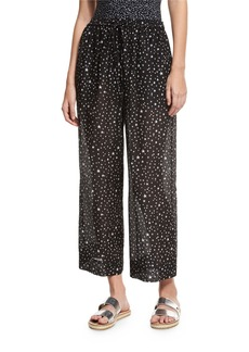 Diane von Furstenberg Star-Print Voile Beach Culottes