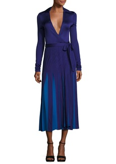 Diane von Furstenberg Stevie Colorblock Midi Wrap Dress