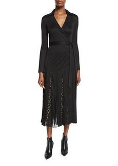 Diane von Furstenberg Stevie Floral & Swiss Dot Midi Wrap Dress