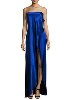Diane von Furstenberg Strapless Draped Satin Side-Slit Gown