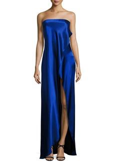 Diane von Furstenberg Strapless Draped Satin Side-Slit Gown