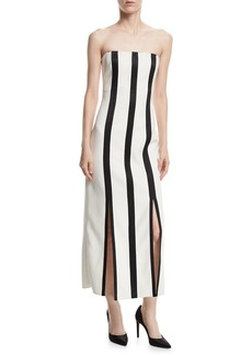 Diane von Furstenberg Strapless Striped Structured Midi Dress