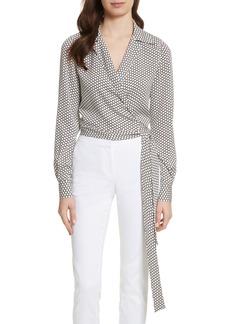 Diane von Furstenberg Stretch Silk Wrap Blouse