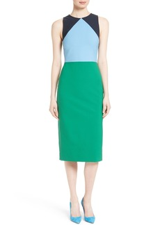 Diane von Furstenberg Stretch Wool Midi Sheath Dress