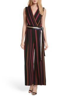 Diane von Furstenberg Stripe Faux Wrap Jumpsuit