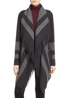 Diane von Furstenberg Stripe Fringe Trim Double Face Jacket