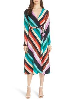 Diane von Furstenberg Stripe Silk Wrap Midi Dress