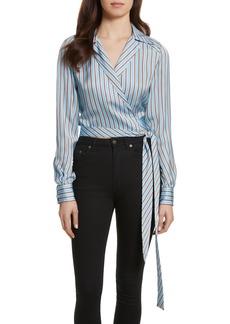 Diane von Furstenberg Stripe Wrap Top