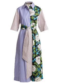 Diane Von Furstenberg Striped and floral-print cotton shirt dress
