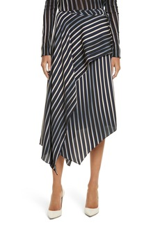 Diane von Furstenberg Striped Asymmetrical Midi Skirt