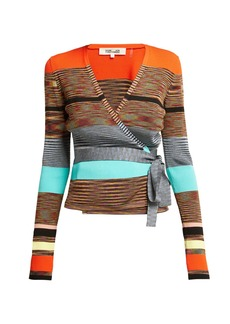 Diane Von Furstenberg Striped knitted wrap cardigan