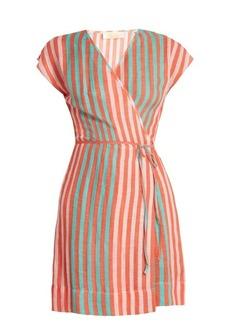 Diane Von Furstenberg Striped linen-blend wrap dress