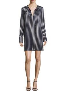 Diane von Furstenberg Striped Long-Sleeve Keyhole Dress