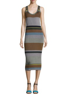 Diane von Furstenberg Striped Ribbed Tank Midi Dress