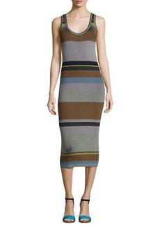 Diane von Furstenberg Striped Ribbed Tank Midi Dress