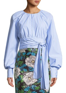 Diane von Furstenberg Striped Self-Tie Keyhole Blouse