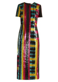 Diane Von Furstenberg Striped sequin-embellished midi dress