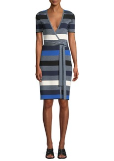 Diane von Furstenberg Striped Short-Sleeve Sweater Wrap Dress