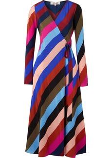 Diane Von Furstenberg Striped silk crepe de chine wrap midi dress