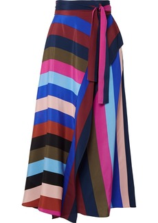 Diane Von Furstenberg Striped Silk Crepe De Chine Wrap Midi Skirt