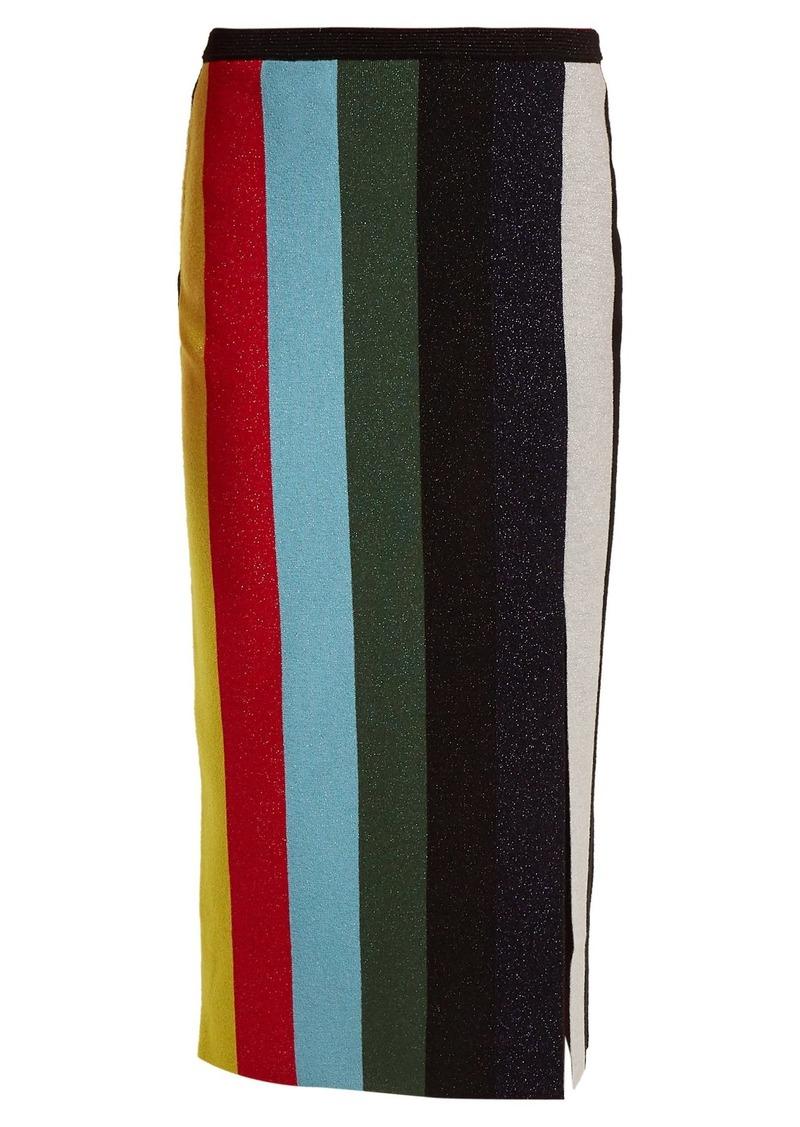 Diane Von Furstenberg Striped stretch-knit pencil skirt