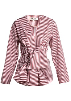 Diane Von Furstenberg Striped waist-tie cotton blouse