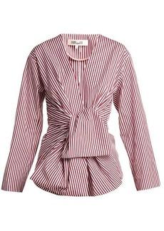Diane Von Furstenberg Striped waist-tie cotton blouse