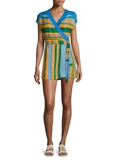 Diane von Furstenberg Striped Wrap Mini Dress