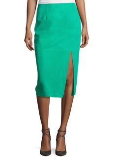 Diane von Furstenberg Suede Side-Slit Pencil Skirt