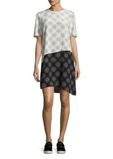 Diane von Furstenberg Sunburst-Print Tiered Silk T-Shirt Dress