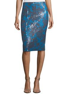 Diane von Furstenberg Tailored Floral-Print Pencil Skirt
